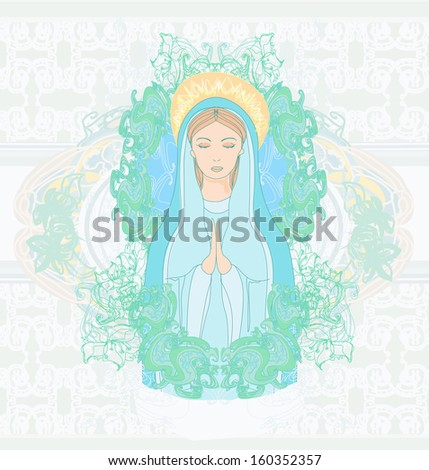 Blessed Virgin Mary portrait  - stock vector