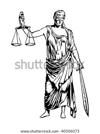 Blind Justice illustration - stock vector