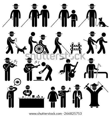 Blind Man Handicap Stick Figure Pictogram Icons - stock vector