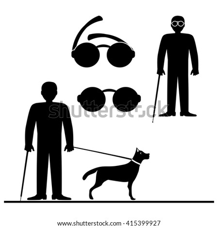 Blind Man with Guide Dog, Seeing Eye Dog. Vector illustrations and Icons - stock vector