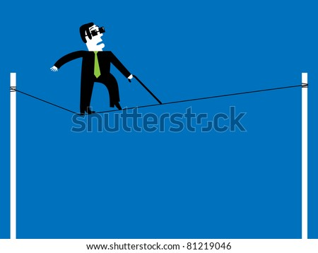 blind tightrope walker on the loose cord in the circus - stock vector