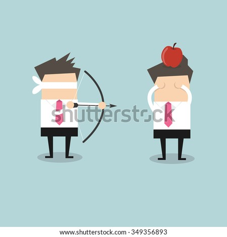 Blindfold businessman aiming to shoot at apple on another man's head vector - stock vector