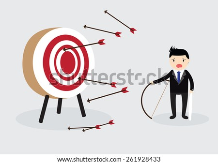 Blindfold businessman try to hit a target - stock vector