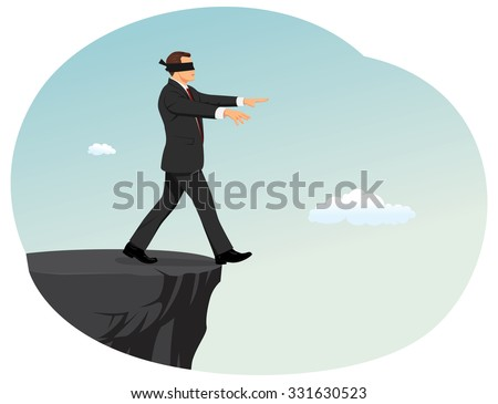 Blindfolded businessman is searching a path near a deep precipice. Business risk and bankruptcy. - stock vector