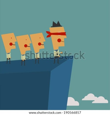 Blindfolded leadership - stock vector