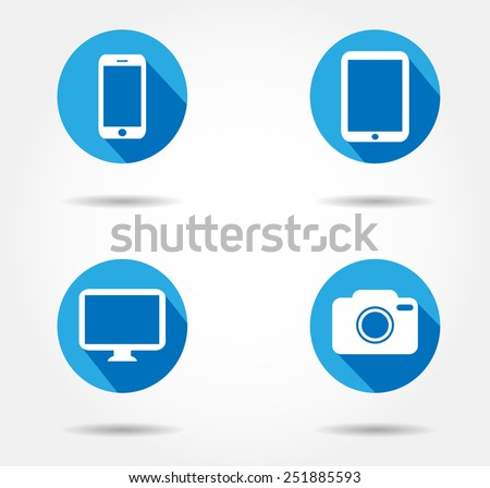 Bllue Button smartphone Icon, ipad camera mac iphon tablet iphone Flat sign - stock vector
