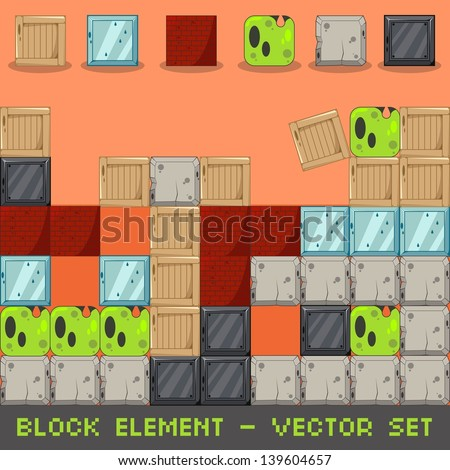 Block Element Vector Set - stock vector