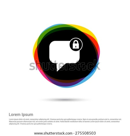 Block Member to Chat Icon, White pictogram icon creative circle Multicolor background. Vector illustration. Flat icon design style - stock vector