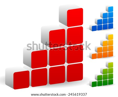 Blocks bar chart, bar graph or building bricks icon (Different colors included) - stock vector