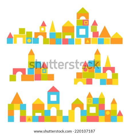 Blocks castle set - stock vector