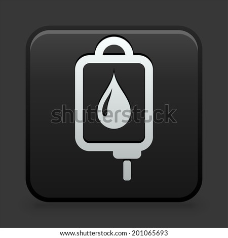 Blodd Drip Icon on Black and White Button  - stock vector