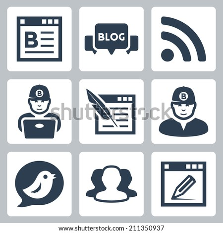Blog and blogger vector icons set - stock vector