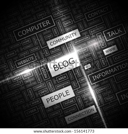 BLOG. Background concept wordcloud illustration. Print concept word cloud. Graphic collage with related tags and terms. Vector illustration.  - stock vector