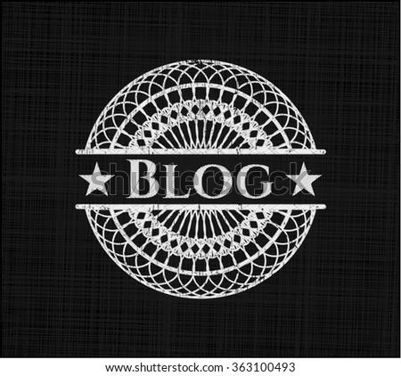 Blog chalk emblem - stock vector