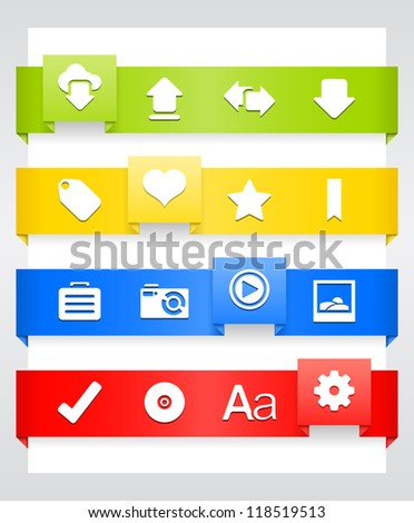 Blog Icons � Ribbon Series Icon set in EPS 8 format with high resolution JPEG EPS file contains four color variations in different layers - stock vector
