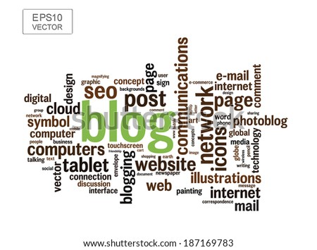 BLOG word cloud collage illustration with different association terms - stock vector