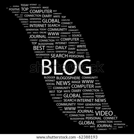 BLOG. Word collage on black background. Illustration with different association terms. - stock vector