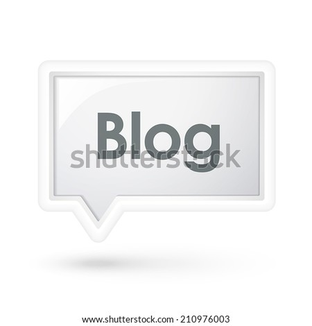 blog word on a speech bubble over white - stock vector