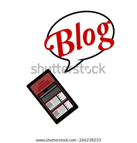 blogger, smart phone and bubble talk - stock vector