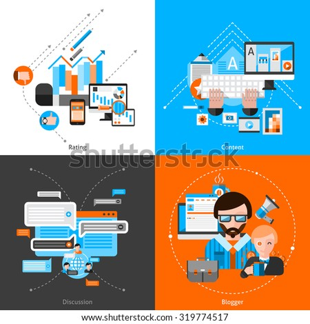 Blogging design concept set with flat rating and content icons isolated vector illustration - stock vector