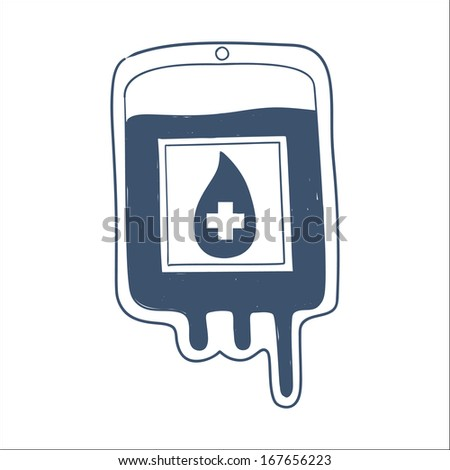 Blood bag isolated on white. Sketch vector element for medical or health care design - stock vector