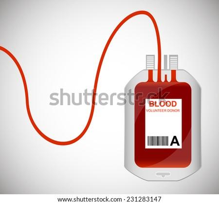 Blood Bag isolated on white. Vector illustrator EPS - stock vector