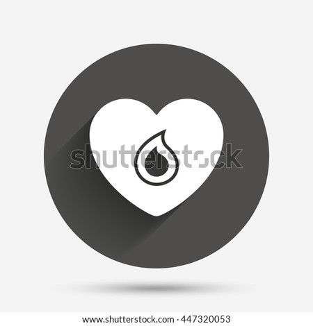 Blood donation sign icon. Medical donation. Heart with blood drop. Circle flat button with shadow. Vector - stock vector