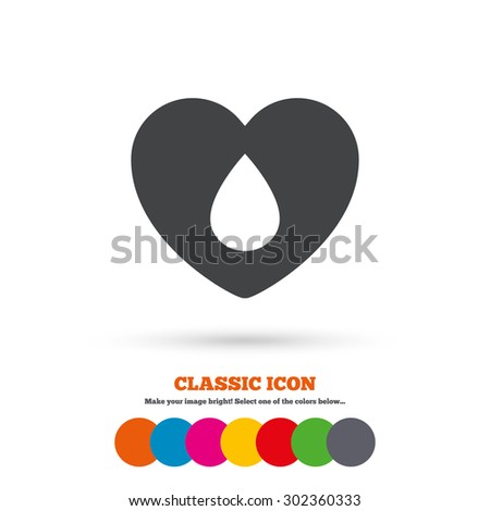 Blood donation sign icon. Medical donation. Heart with blood drop. Classic flat icon. Colored circles. Vector - stock vector