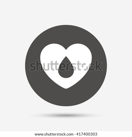 Blood donation sign icon. Medical donation. Heart with blood drop. Gray circle button with icon. Vector - stock vector
