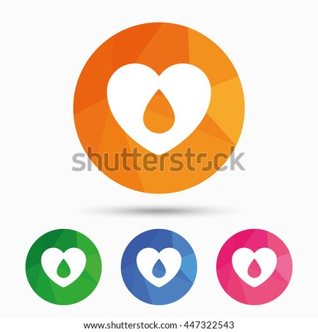 Blood donation sign icon. Medical donation. Heart with blood drop. Triangular low poly button with flat icon. Vector - stock vector