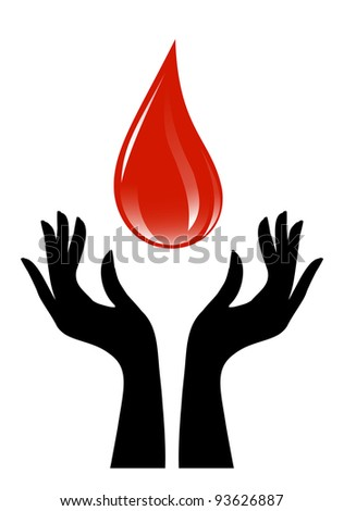 Blood drop and hands - stock vector