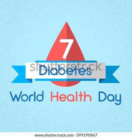 Blood Drop Diabetes World Health Day 7 April Holiday Banner Flat Vector Illustration - stock vector
