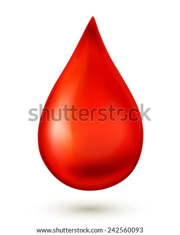Blood drop isolated on white background. Vector illustration - stock vector