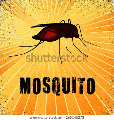 Blood filled mosquito, graphic illustration with gold ray grunge background. EPS8 compatible. - stock vector