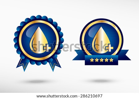 Blood icon stylish quality guarantee badges. Blue colorful promotional labels - stock vector