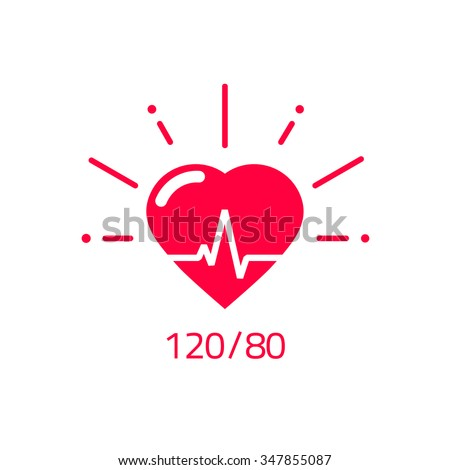 Blood pressure vector icon, heart cheering cardiogram, good health logo, healthy pulse flat symbol, medical pulsometer element, heartbeat label hospital equipment concept design isolated on white sign - stock vector