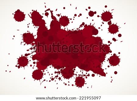 Blood splatter background, isolated on white. - stock vector