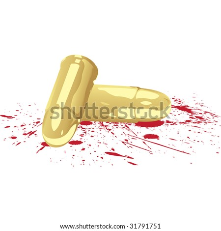 bloody bullets on white background, vector illustration - stock vector
