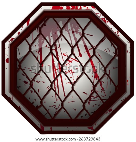 Bloody MMA Octagon Sign, Vector Illustration isolated on White Background.  - stock vector