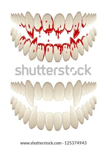 Bloody teeth - stock vector