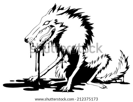 Bloody wolf black and white vector, horizontal,  isolated  - stock vector