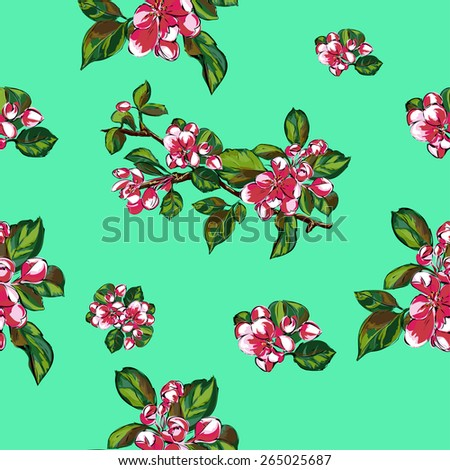 Blooming branches on a blue background.Vector seamless pattern. Endless texture can be used for wallpaper, pattern fills, web page background,surface textures. - stock vector