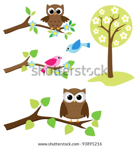 Blooming tree and branches with sitting owls and birds - stock vector