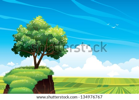 Blossom tree and green meadow on a blue sky background with clouds. Vector summer landscape. - stock vector