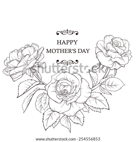 Blossoming roses with spring flowers on white. Vector illustration. Perfect for background greeting cards and invitations of the wedding, birthday, Valentine's Day, Mother's Day. - stock vector