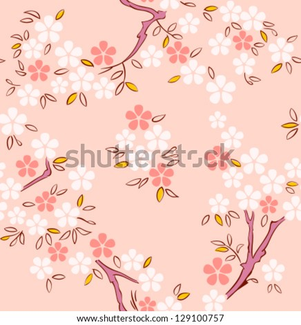 Blossoming sakura or cherry trees japanese seamless pattern - stock vector