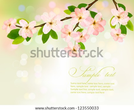Blossoming tree brunch with spring flowers on green background. Vector illustration. - stock vector