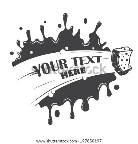 blot cleaning sponge with a place for your text - stock vector