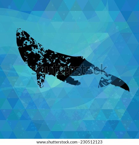 Blots silhouette of a whale on a colorful mosaic background.  - stock vector