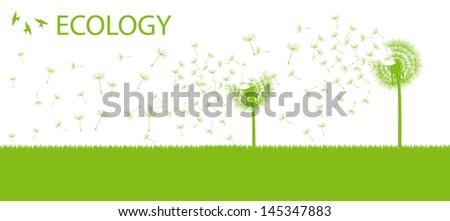 Blow dandelion vector ecology background concept - stock vector